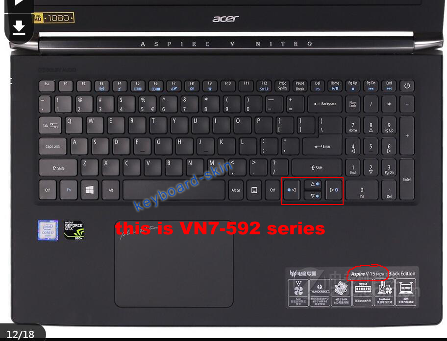Keyboard Skin Cover Protector for Acer Aspire V 15 Nitro,VN7-571,VN7-571G-50Z5